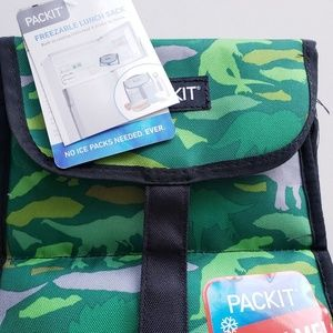pack it Kitchen - Packit Freezable Lunch Sack Bag Green Dinosaurs